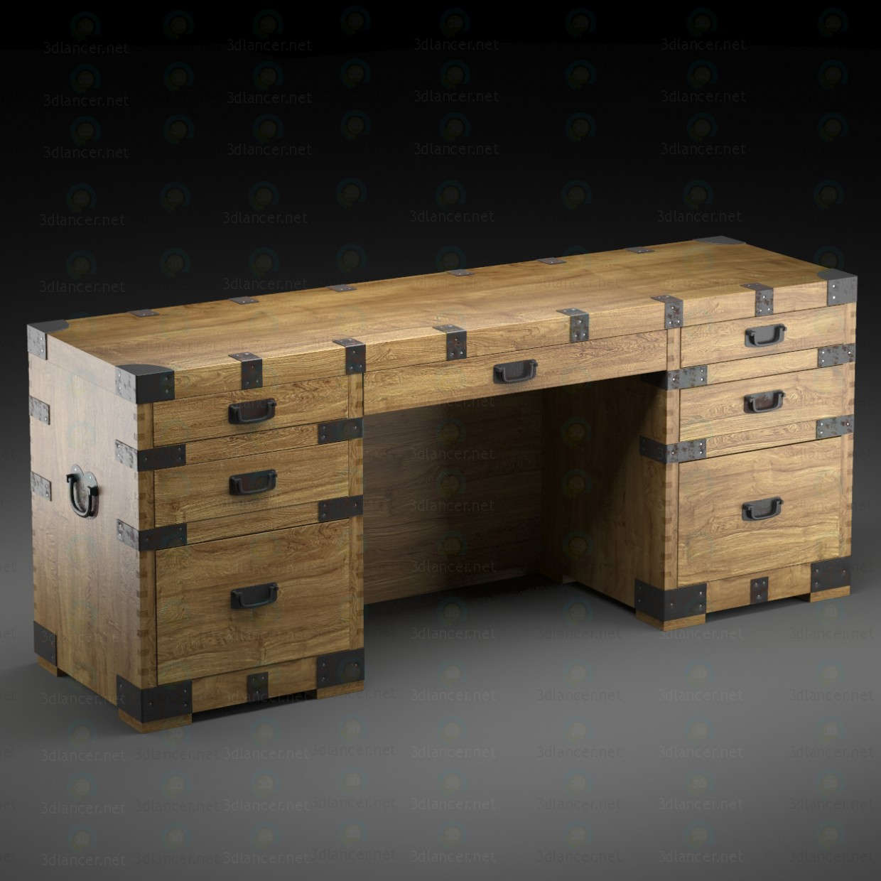 3d HEIRLOOM SILVER CHEST desk Restoration Hardware модель купити - зображення