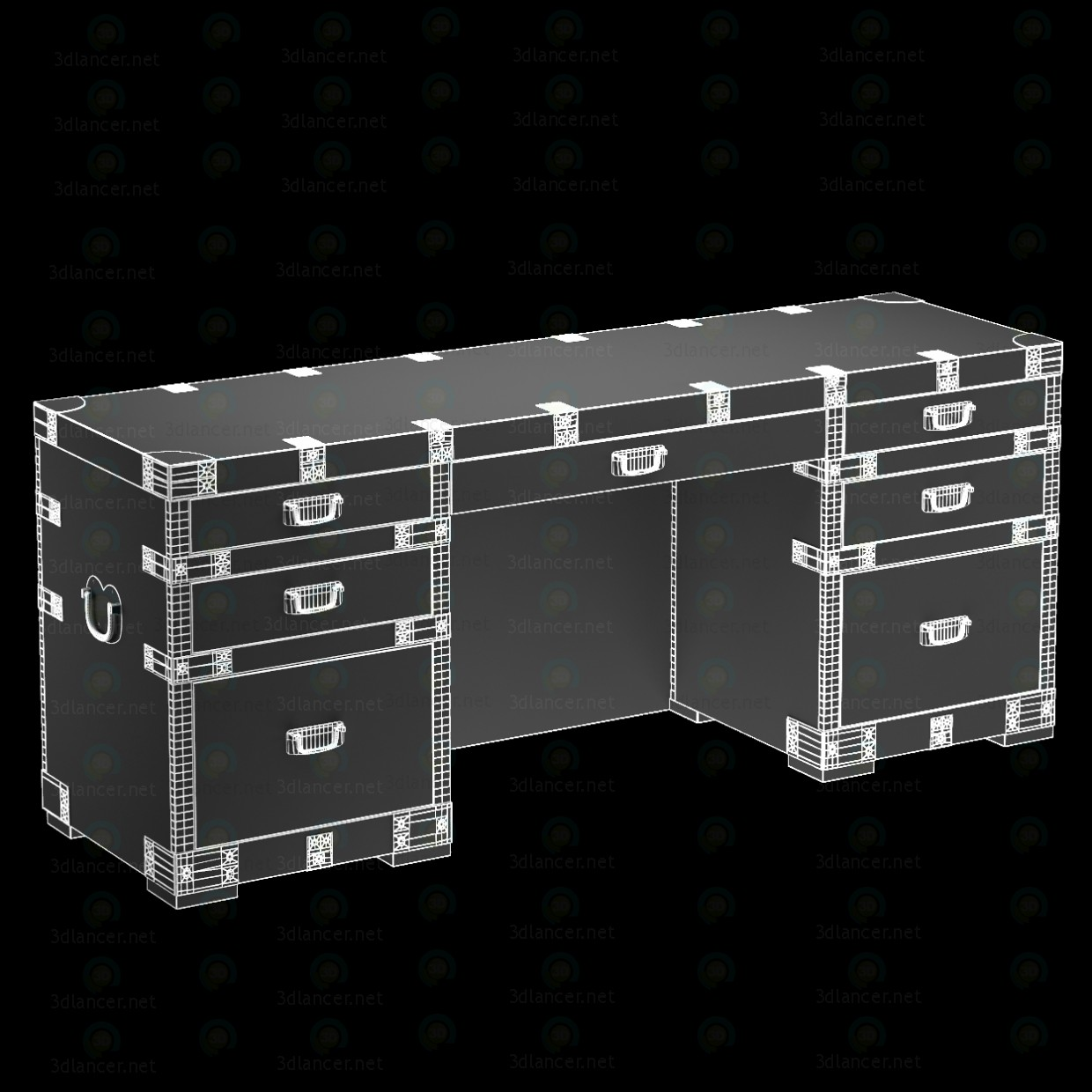 3d HEIRLOOM SILVER CHEST desk Restoration Hardware model buy - render