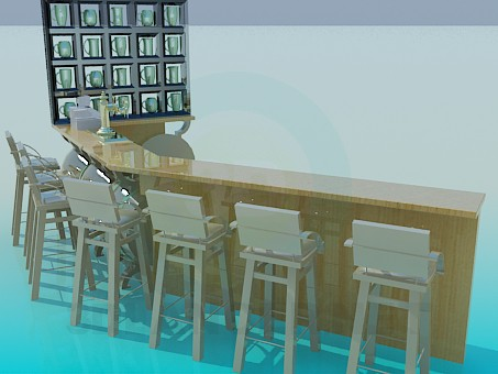 3d modeling Bar counter with chairs model free download