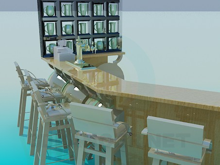 3d model Bar counter with chairs - preview