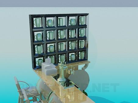 modelo 3D Barra de bar con sillas - escuchar