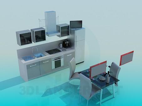 3d моделирование Кухня с обеденным столом модель скачать бесплатно