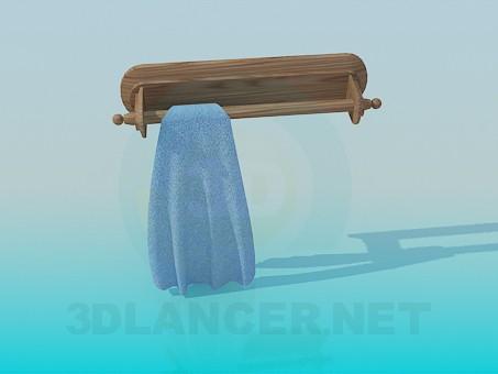 modèle 3D Porte-serviette en bois - preview
