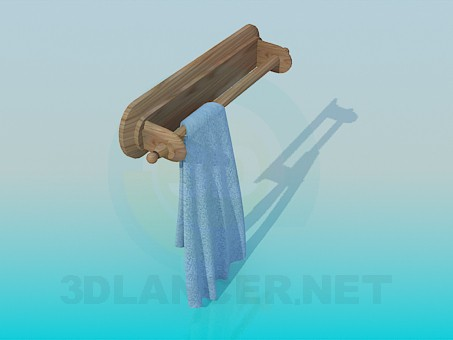 3d model Wooden towel rack - preview