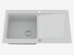 Sink, 1 bowl with draining board - gray metallic Modern (ZQM S113)