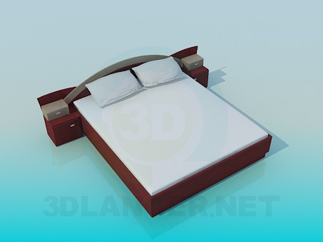 3d modeling Bed with bedside tables model free download