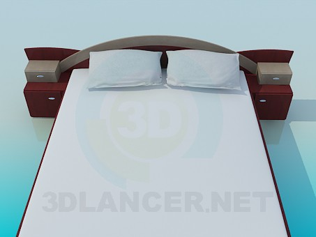 3d model Bed with bedside tables - preview