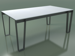 Outdoor dining table InOut (938, Gray Lacquered Aluminum, White Enameled Lava Stone Slats)