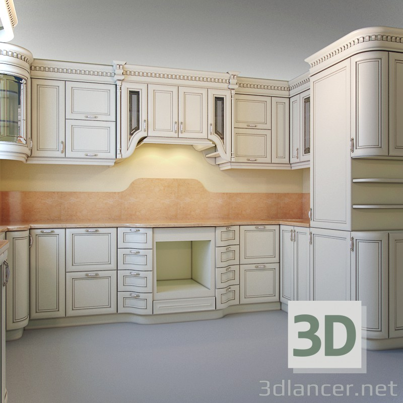 3d model kitchen design download to for Model kitchen images