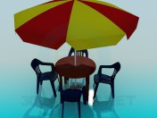 Umbrella, plastic table and chairs for cafe