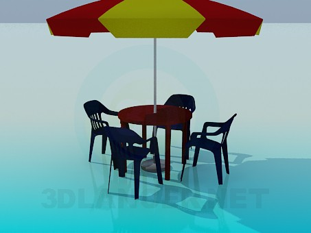 3d model Umbrella, plastic table and chairs for cafe - preview