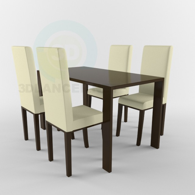 3d model Tables and chairs in kitchen - preview