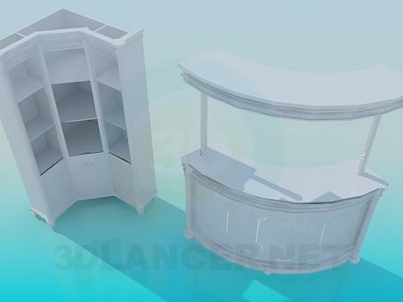 3d модель Стойка администратора и шкаф – превью
