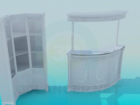modelo 3D Recepción y gabinete - escuchar