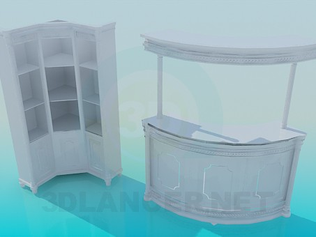 3d model Reception and cabinet - preview