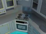 Kitchen painted with metal colour