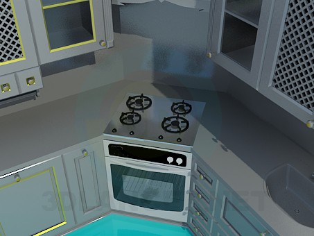 3d modeling Kitchen painted with metal colour model free download