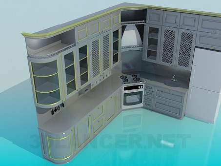 3d model Kitchen painted with metal colour - preview