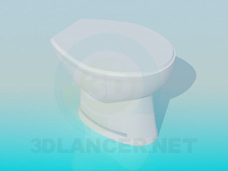 3d model Toilet bowl with lid - preview