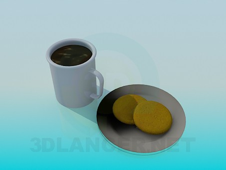 modelo 3D Té con galletas - escuchar