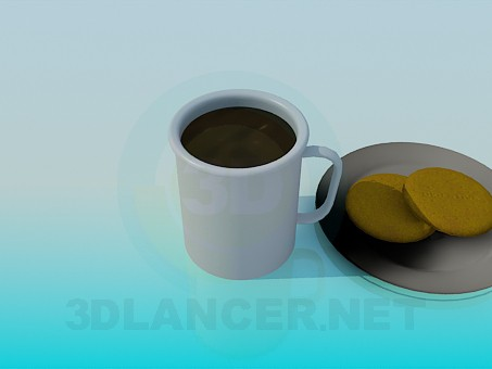 3d model Tea with cookies - preview