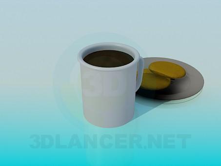 3d модель Чай с печеньем – превью