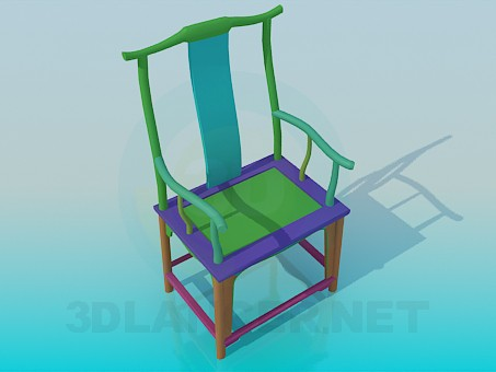 3d model Colourful wooden chair - preview