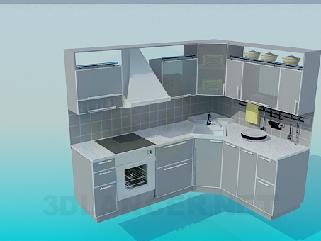 3d modeling A small kitchen model free download