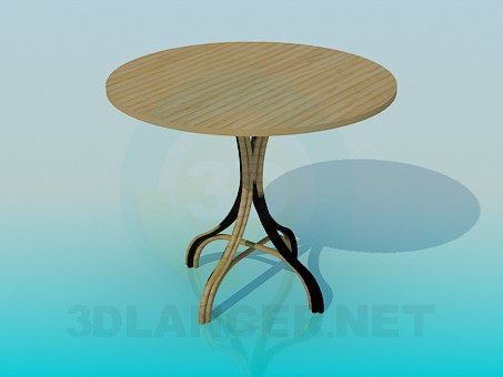 3d model Wooden tablewith a wicker leg - preview