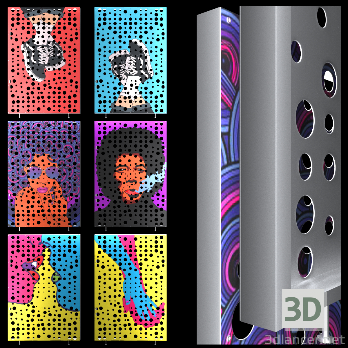 3d Pop Art Perforated Metal Panel. model buy - render