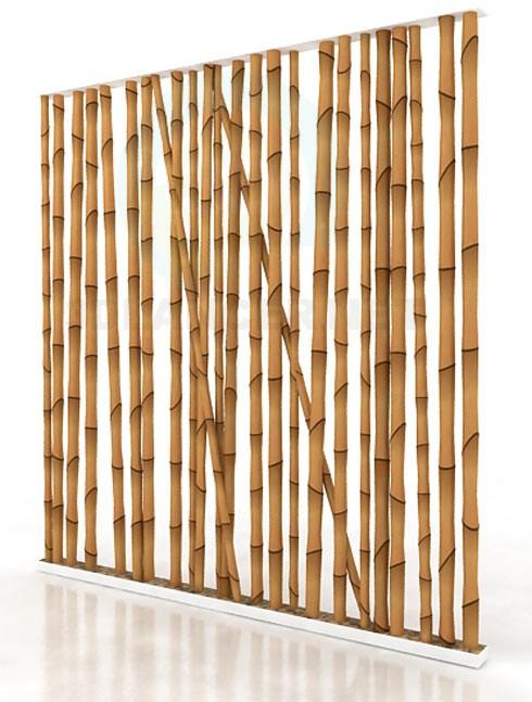 descarga gratuita de 3D modelado modelo pared de bambú