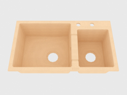 Sink, 2 bowls without a wing for drying - sand Piva (ZQI 7203)