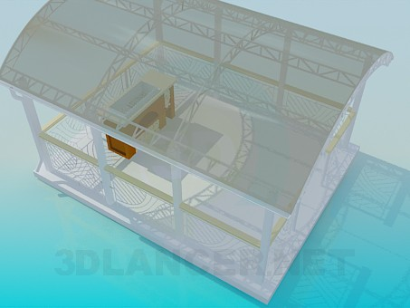 3d modeling Summerhouse with barbecue facilities model free download