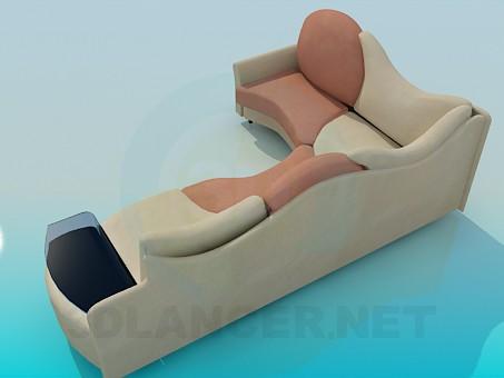 modelo 3D Sofá con mesa de centro - escuchar