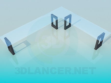 3d model Narrow angle table with glass tabletop - preview