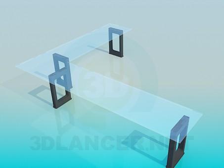3d модель Вузький кутовий стіл зі скляною стільницею – превью