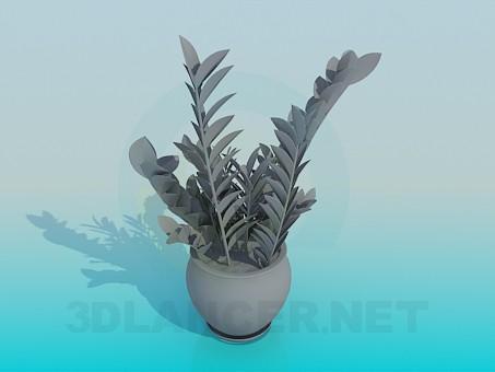 modelo 3D Maceta con flor - escuchar
