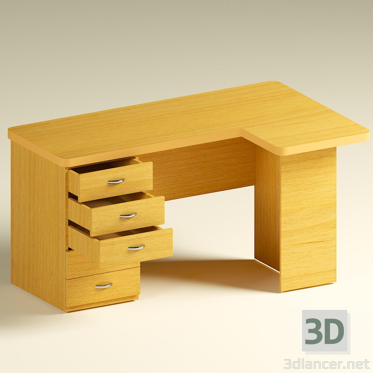 modello 3D scrivania del computer angolo - anteprima