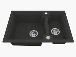 Sink, 1,5 bowls without a wing for drying - Graphite Polka (ZQO 2503)