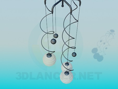 3d modeling Chandelier with spirals and balls model free download