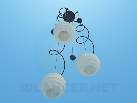 3d модель Люстра со спиралями и шариками – превью