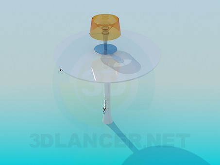 3d model Round table with lamp - preview