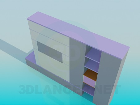 modelo 3D Los estantes del armario de esquina en sala de estar - escuchar
