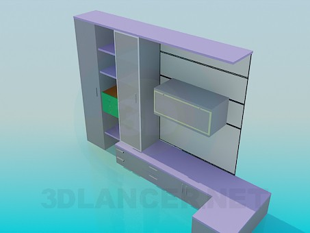 3d model The corner cupboard shelves in living room - preview