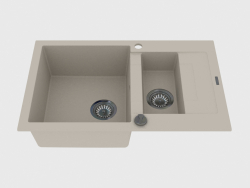 Fregadero de 1,5 orificios con fregadero acortado - Rapido alabaster (ZQK A513)