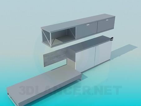 modelo 3D Muebles juego de TV - escuchar