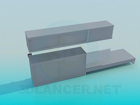 3d модель Комплект меблів під телевізор – превью