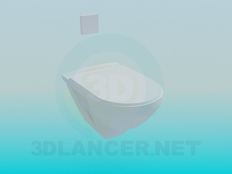 3d modeling Toilet flushing with a flushing button on the wall model free download