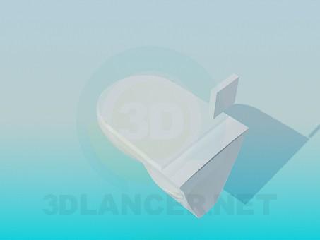 3d модель Унитаз с кнопкой смыва на стене – превью
