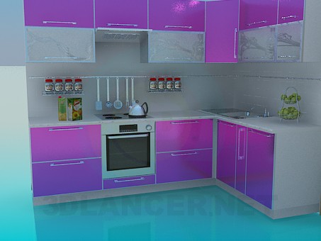3d model Pink kitchen - preview
